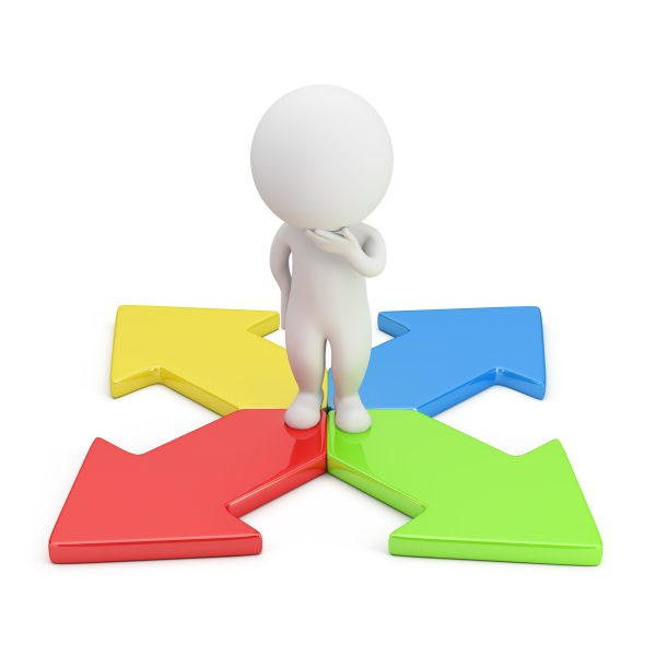 3d small person in a thoughtful pose standing on colorful arrows. 3d image. White background.
